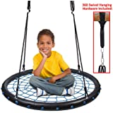 "Clevr 40"" Round Tire Spider Web Tree Net Swing with Adjustable 71"" Height Nylon Rope, Outdoor Garden Playards"