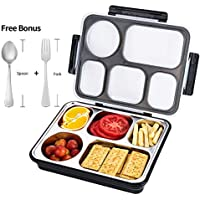 FIRST-MALL Leak-Proof Bento Style Lunch Box - Stainless Steel Versatile 4 Compartment Food Containers - On-The-Go Meal and Snack - BPA-Free and Food-Safe Materials, Ideal for Adults &Teenagers