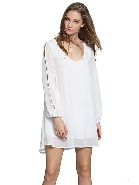 932cea7377 Romwe Women s Summer Loose V Neck Split Sleeve Chiffon Tops Dress White S