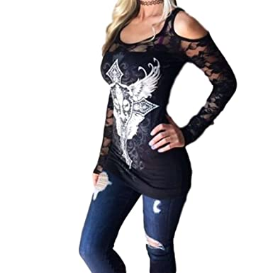 9bb2c575ad5f5 MoonShine Clothing Lace Back Embellished Long Sleeve Tee Shirt Cold Shoulder  Bare Black Or White (