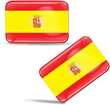 Biomar Labs 2 X Aufkleber 3d Gel Silikon Stickers Spanien Spain Spanische Flagge Fahne Flag Auto Motorrad Fahrrad Fenster Tür Pc Handy Tablet Laptop F 31 Auto