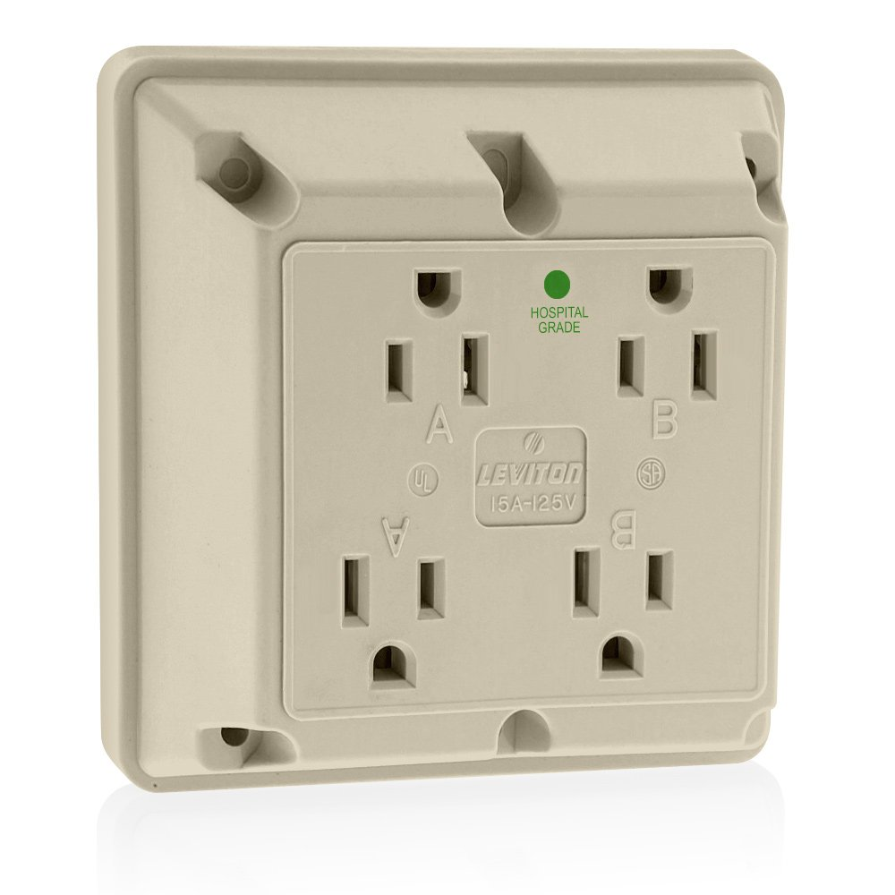 Leviton 1254-HI 15 Amp, 125 Volt, Industrial Series Extra Heavy Duty Hospital Grade, 4-In-1 Receptacle, Straight Blade, Grounding, Ivory