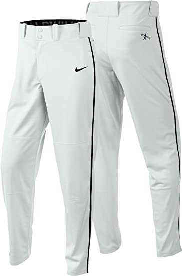 Nike Men's Swingman Dri-FIT Piped Baseball Pants (White/Black, Small)