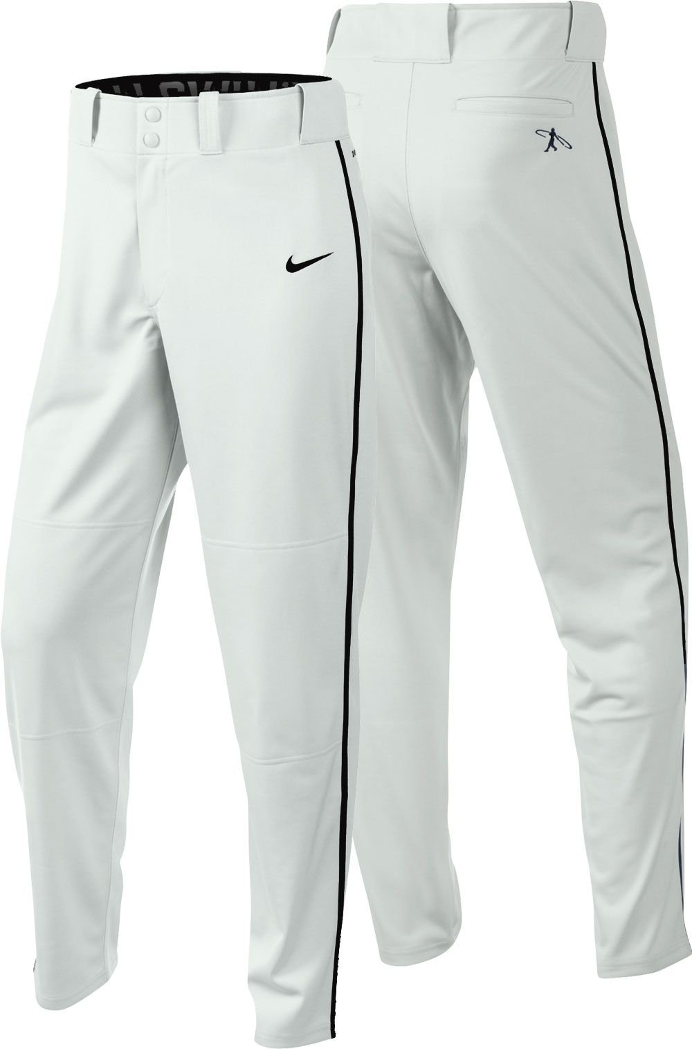 Nike Boys Swingman Dri-FIT Piped Baseball Pants (White/Black, Medium) by Nike (Image #1)