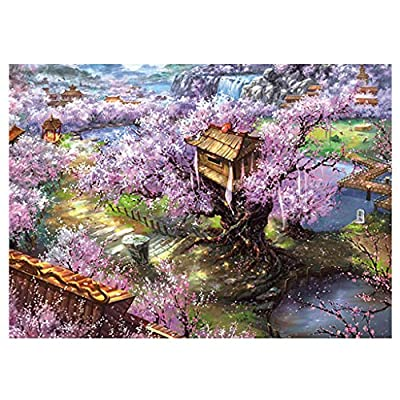 150 Piece Jigsaw Puzzle for Mother Day Git, Cherry Blossom Temple Series Puzzle Stay at Home Gifts Brain Teaser Puzzles Board Game for Adults Children: Toys & Games