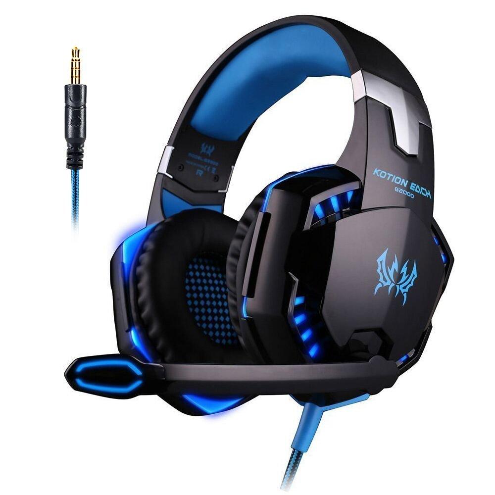 [Última versión de auricular para juegos PS4] KingTop Auriculares Cascos G2000 sobre el Oído Auricular de Juego Estéreo con Micrófono...
