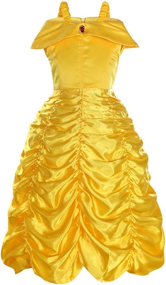Extraordinaire Mallalah Princesse Belle Costume Robe Jaune ou Licorne Rose Bleu WZ-45