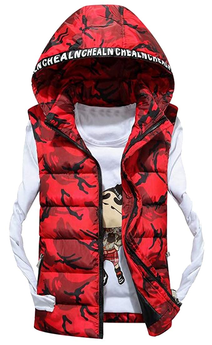 YYG Men Hoodie Fall Winter Warm Camo Print Down Quilted Vest Puffer Waistcoat Jacket Outerwear