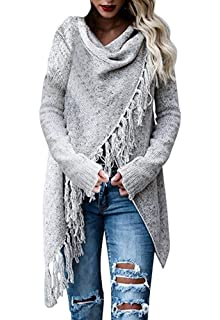 Minetom Mujeres Poncho Chal De Punto Jerseys Cardigan Sweater De Invierno  Tops Moda Elegante Manga Larga 42c44564455e