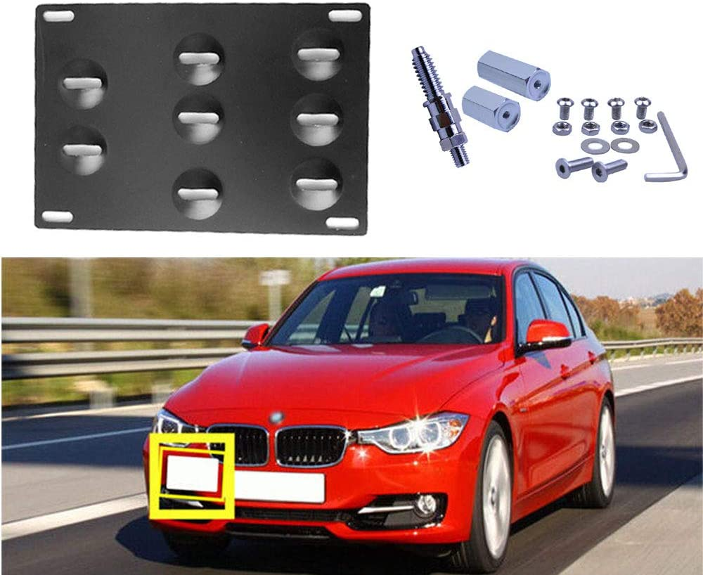 FLYPIG Front Bumper Tow Hook License Plate Mounting Bracket Holder Relocator Adapter Kit for BMW 1 3 5 Series