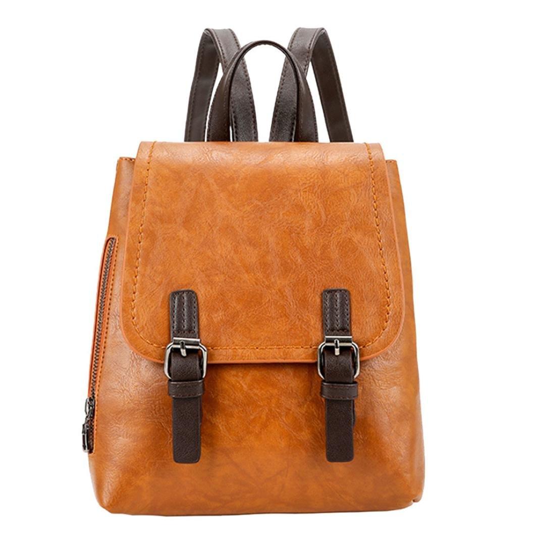 Vintage Women Student Pure Color PU Leather Shoulder Bag School Bag Tote Backpack Messenger Bag Faionny (Brown)