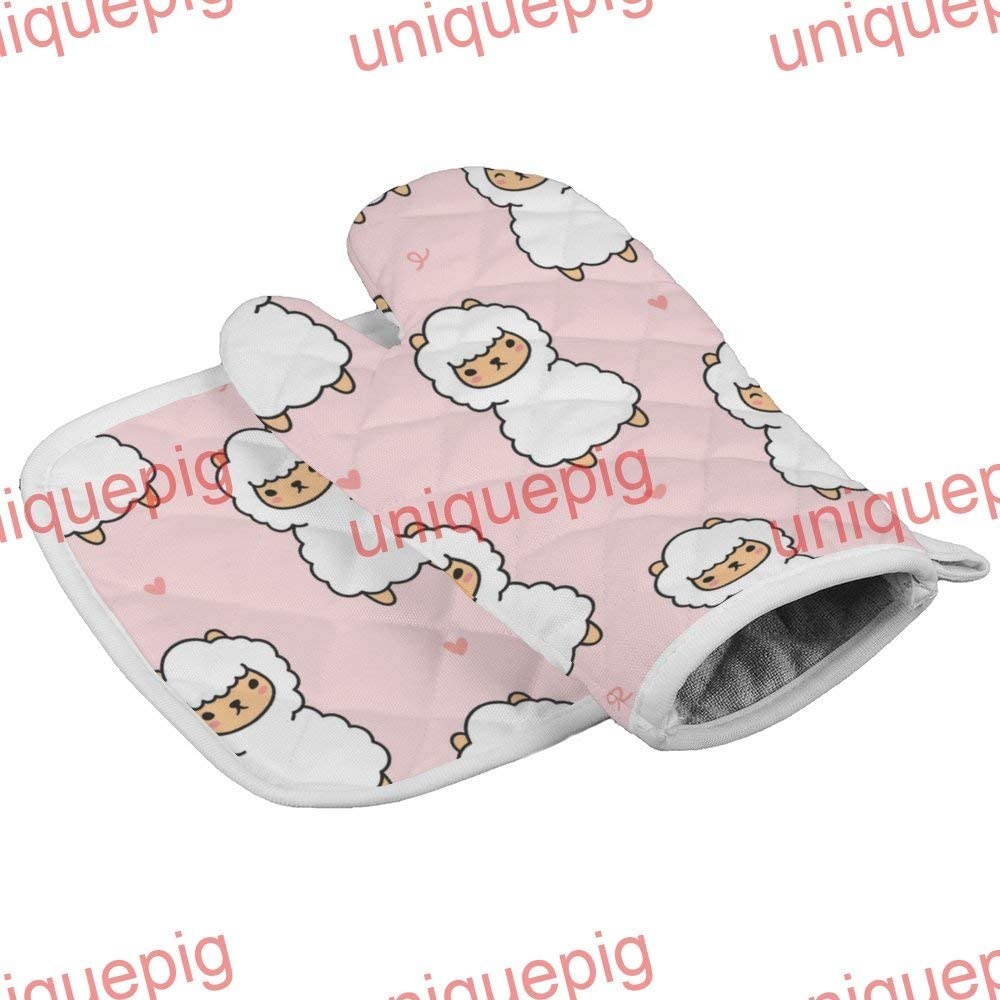 uniquepig Cute Alpaca Seamless Pattern Oven Mitts and Pot Holders Sets Heat Resistand Oven Gloves Non Slip Potholder 2 Pieces for Kitchen BBQ