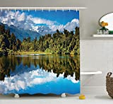 Stylish Shop Lake House Decor Collection, Mirror Reflection on Lake by The Forest with Bright Cloudy Sky in Southern Alps, Polyester Fabric Bathroom Shower Curtain, 72 Inches Long, Green Blue White