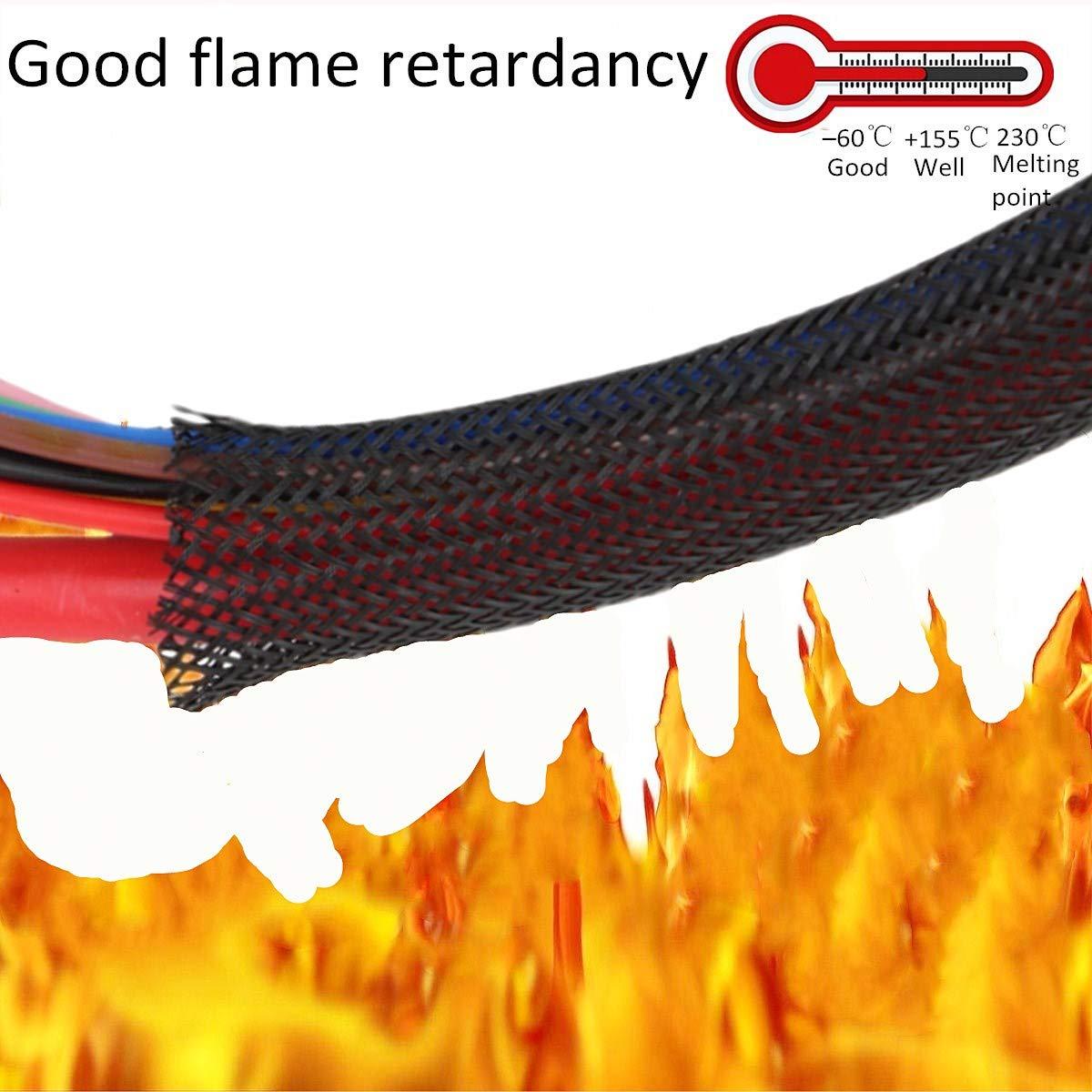 /1//2/pulgadas Pet Expandable trenzado Reticulado trenzado Manguera Gesti/ón de cables 100/ft/