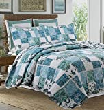 Cozy Line 3 Pcs Coastal Shabby Ruffled 3D White Lace Floral Blue Printed Patchwork Quilt Set, 100% COTTON Reversible Bedding Set Bedspread Coverlet Aqua Blue,Full/Queen