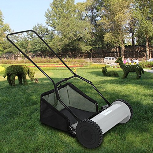 mower-16-inch-push-hand-lawn-reel-grass-behind-walk-lawnmower-catcher-black-gray