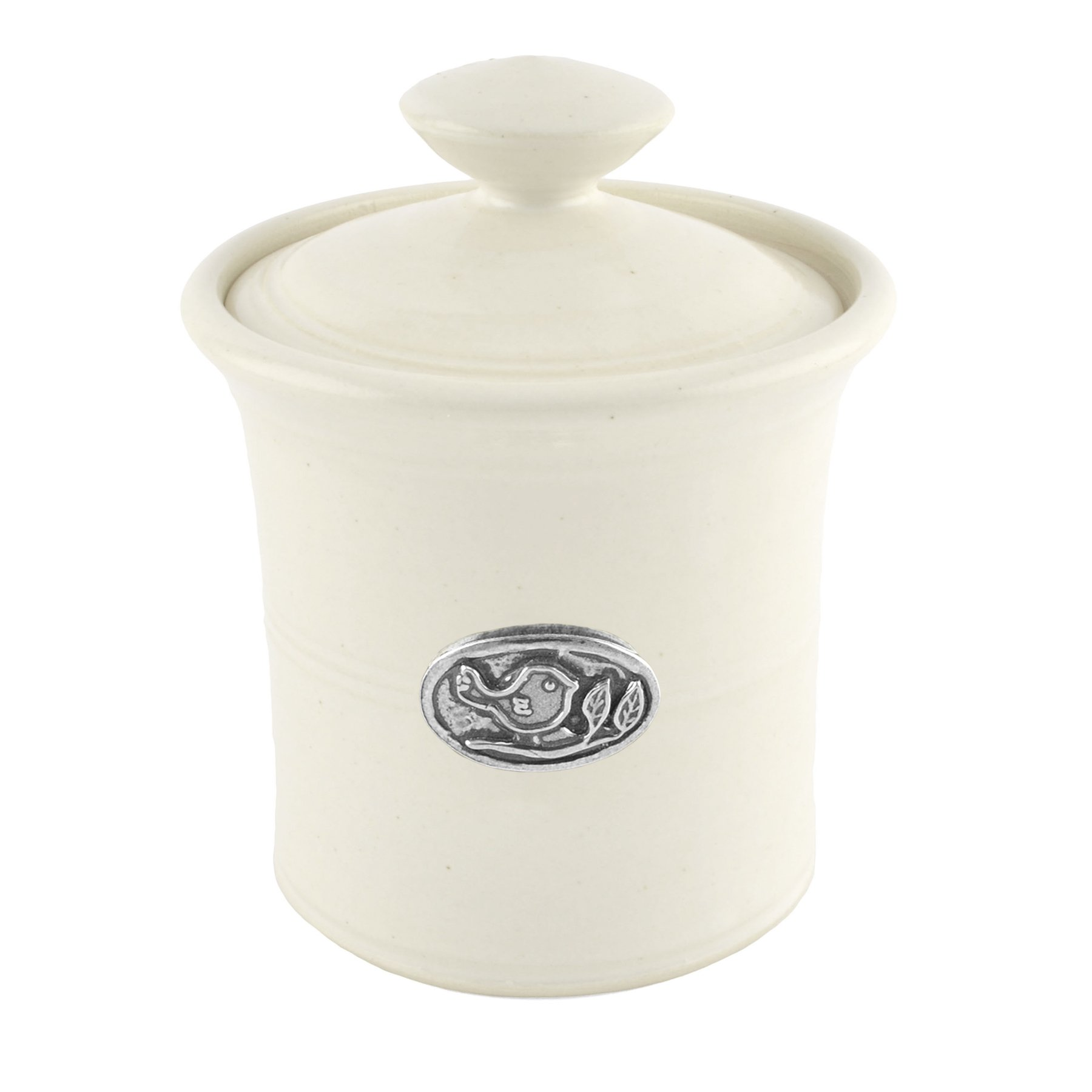 Oregon Stoneware Studio Bird Garlic Pot, Whipping Cream by Oregon Stoneware Studio