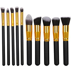 go2buy Makeup Brush Set Professional Foundation Blending Blush Eyeliner Face Powder Brush Makeup Brush Kit(10Pcs,Black)