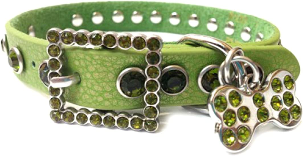 Crazy4Bling Apple Green Leather Dog Collar with a Row of Dark Green Rhinestones, SizeXL