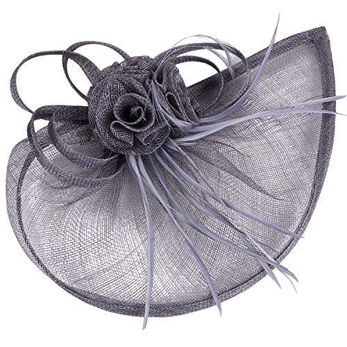 VIJIV Women's Vintage Derby Fascinator Hat Pillbox Headband Feather Cocktail Tea Party Grey]()
