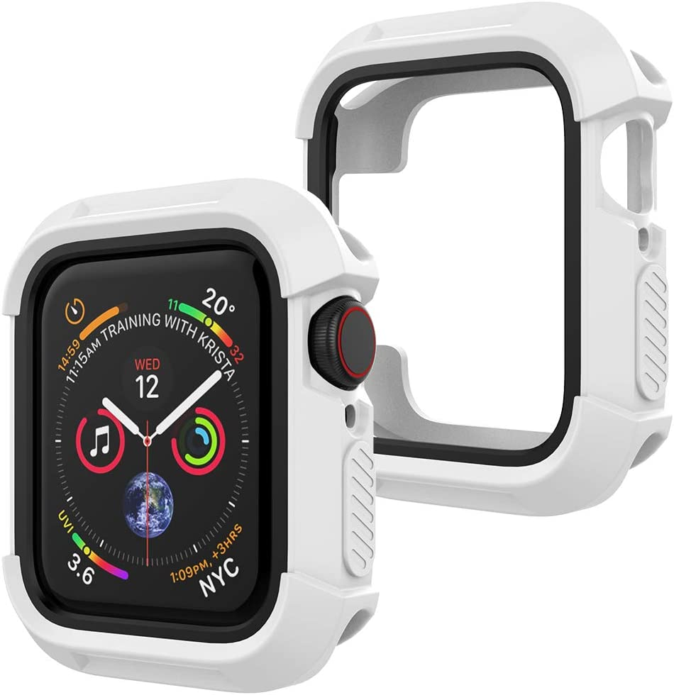 UooMoo Compatible with Apple Watch 4/5 case 44mm, TPU Shockproof Rugged Full-Protective Bumper Cover Replacement for iWatch Apple Watch Seires 4 Series 5 (44mm,White/Black)
