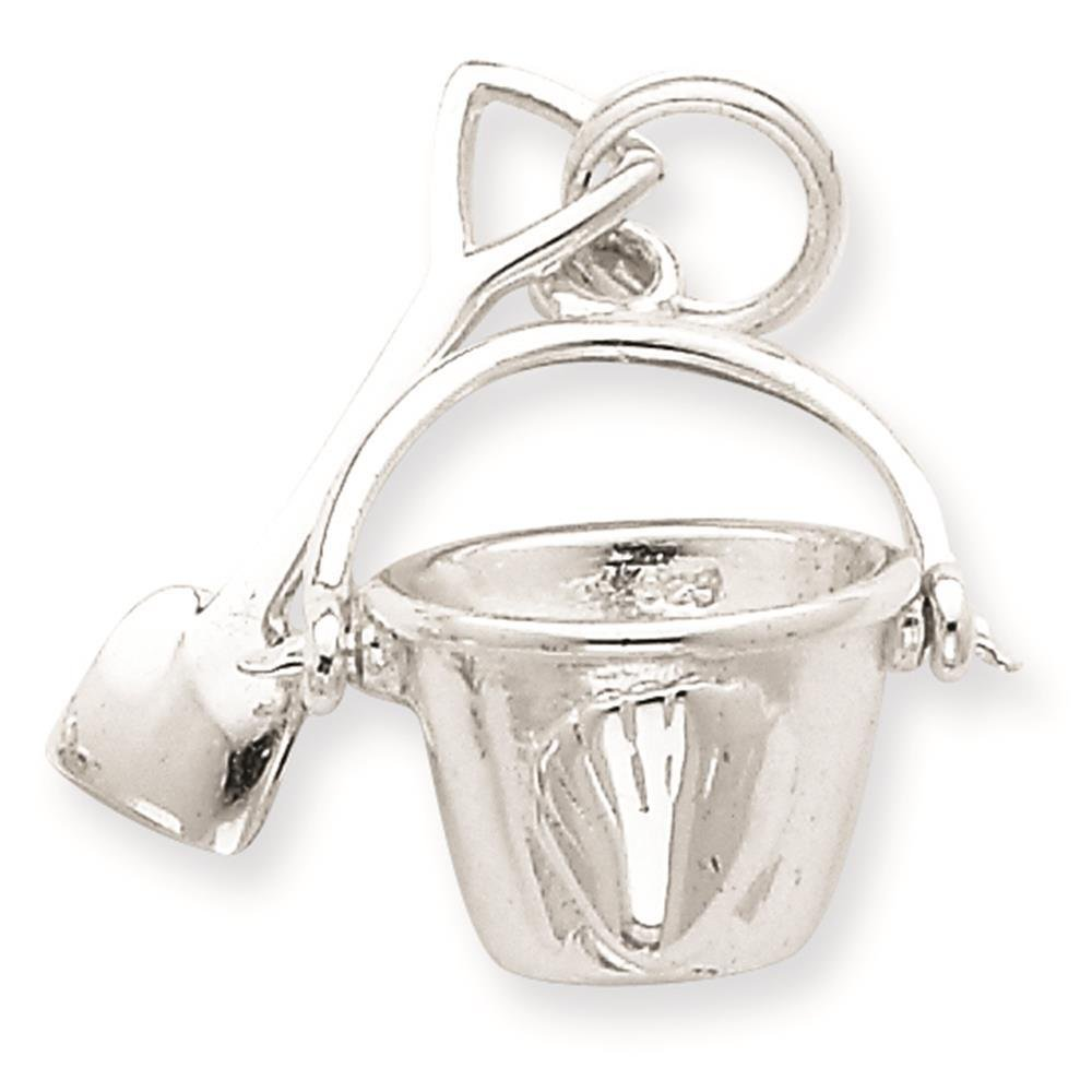 925 Sterling Silver Shovel and Pail Charm Pendant 17mm x 17mm