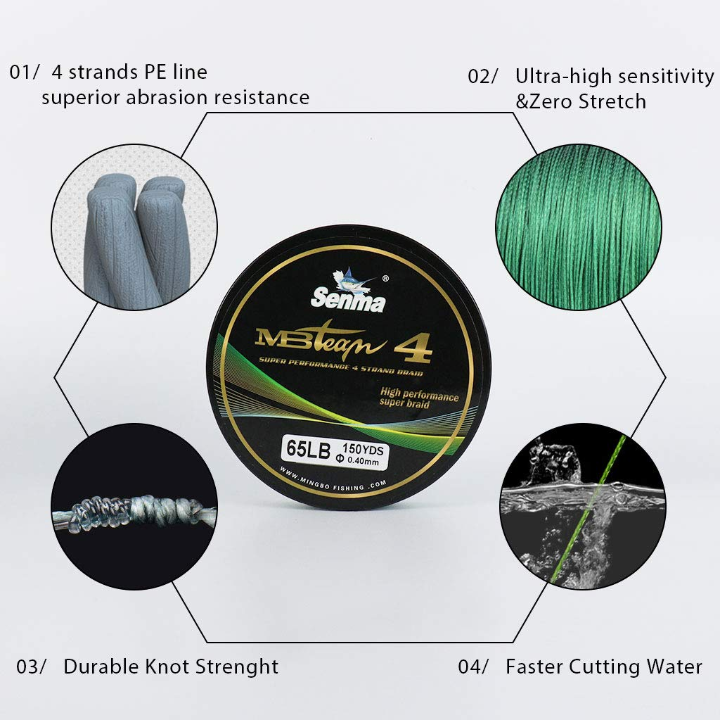 SENMA Braided Fishing Line 4 Strand Extra Thin Diameter Abrasion Resistant PE Material 6LB-80LB 150yards 300yards for Saltwater /& Freshwater