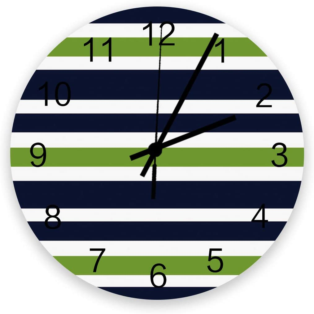 Red Vow Art Wooden Wall Clock for Living Room Decor,Simple Navy Blue, Lime Green and White Stripe Chic Silent Battery Operated Hanging Office Wall Clocks