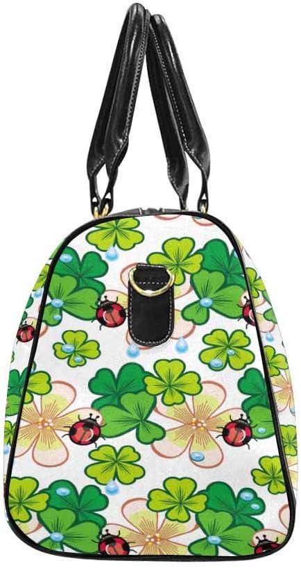 InterestPrint Large Duffel Bag Flight Bag Gym Bag Shamrock Ladybird and Water Drops