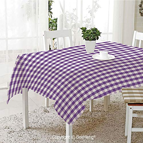 BeeMeng Large Family Picnic Tablecloth,Easy to Carry Outdoors,Checkered,Purple and White Colored Gingham Checks Rows Picnic Theme Vintage Style Print Decorative,Purple White,59 x 104 ()
