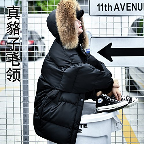 Winter Hair The Collar Long In Down Jacket Size Type nbsp;Word And Section Big Xuanku Women Loose Black Large 4620 nbsp;A Hats Autumn Of qEq874