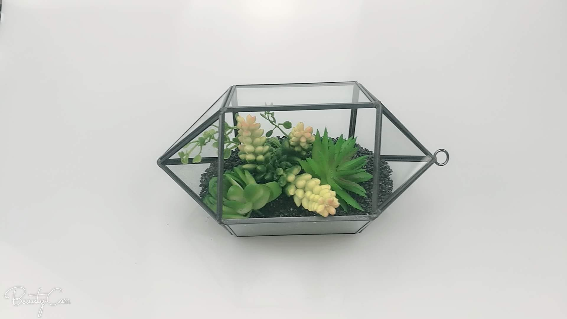 Large Geometric Glass Terrarium Handmade Irregular Planter Indoor
