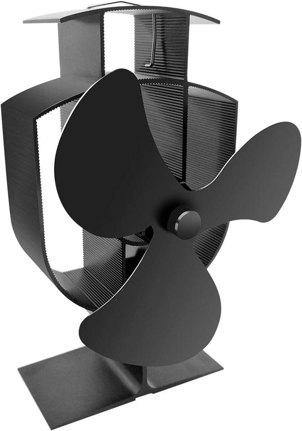Hao-zhuokun 2020 Ventilador para Estufa,Ventilador Estufa leña,para Estufas de Gas/pellets/leña,diseño silencioso,ecológico y económico,Negro