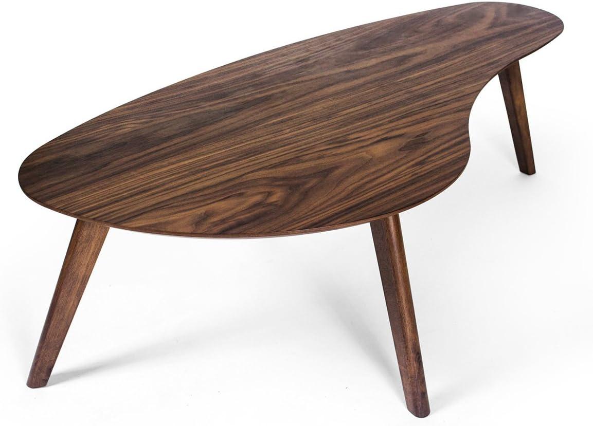 Amazon Com Kidney Shaped Coffee Table Walnut Kitchen Dining