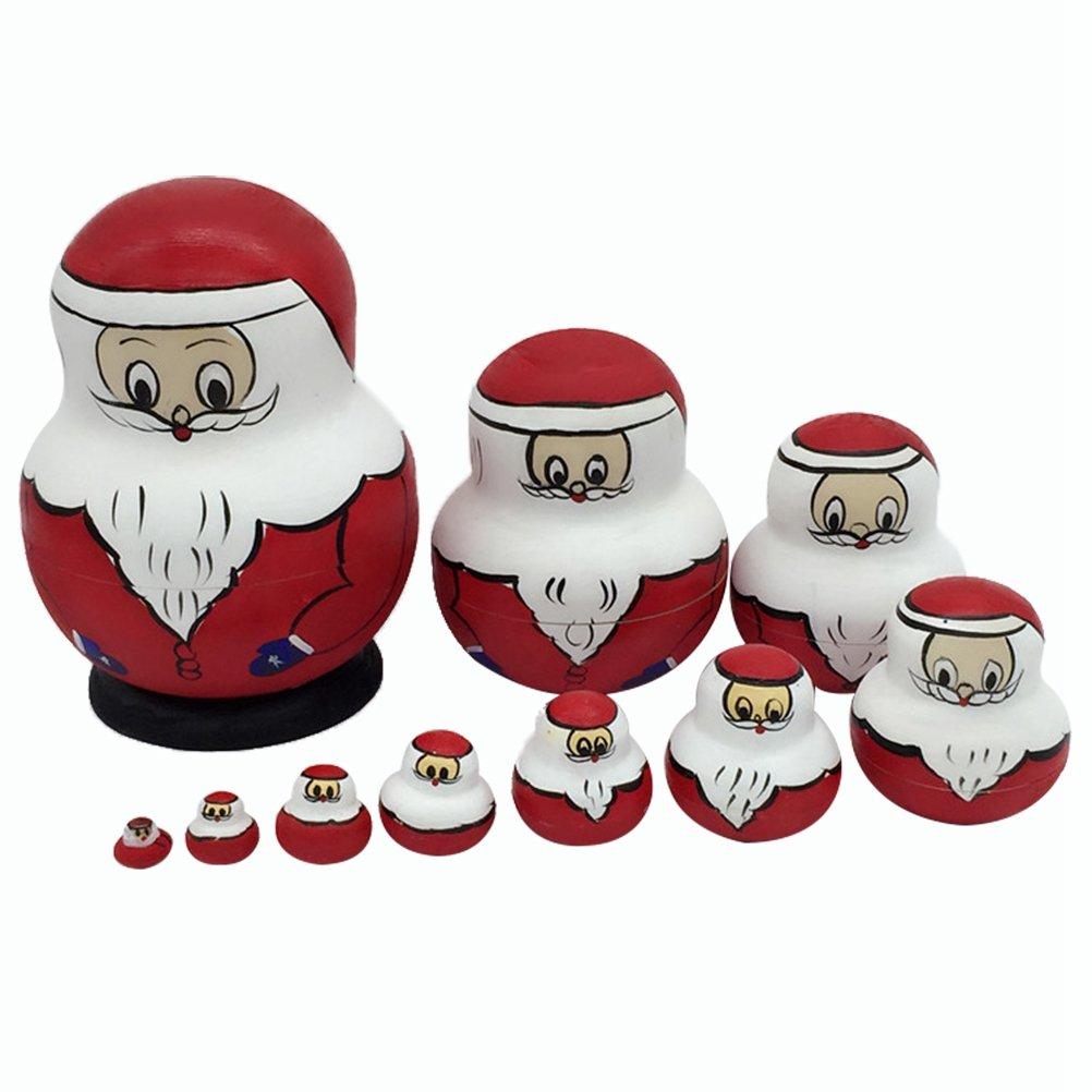 Healifty Matrioske Russe Matrioske Babbo Natale Bambole Nidificazione 10 Pezzi