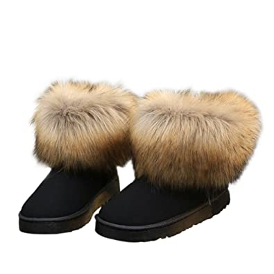 pretty cheap popular stores thoughts on Meijunter Ladies Women Winter Snow Faux Fur Fluffy Ankle Boots Warm Comfy  Casual Flat Shoe