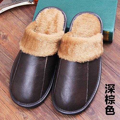 Inverno pantofole uomini e donne paio di pantofole di cotone molto spessa spessa pelle pantofole, 28 iarde (41-42 metri), di colore marrone scuro
