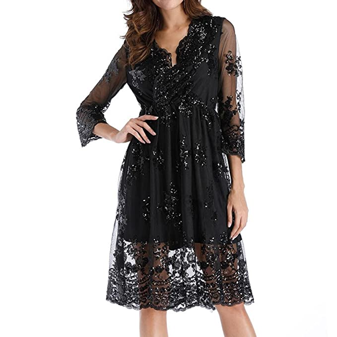 a5dd35488c7f Anglewolf Fashion Womens Double Layer 3 4 Long Sleeve Sequins Glittery  Deep-V Collar Dress Spring Summer Casual Knee-Length A-Line Dress Party  Evening Dress ...
