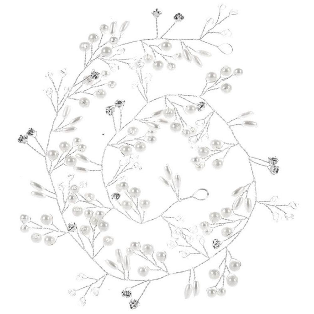 Paul03Daisy Barrettes Mariage, Stageonline 50cm Fait à la Main Perle Strass Bandeau Cheveux Blancs Band Coiffe de mariée Accessoires de fête