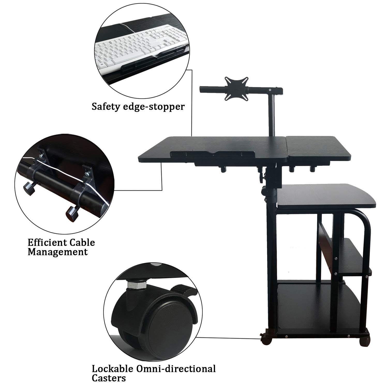 KOMOREBI Computertisch Laptoptisch Arbeitstisch Arbeitstisch Arbeitstisch Frühstückstisch Betttisch Höhenverstellbar Mit Rollen, Arbeitstisch PC-Tisch mit Tastaturauszug, Höhe von 27,6