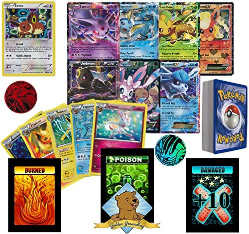 50 Random Pokemon Card Pack Lot, Featuring Eevee, 1 Ultra Rare Eeveelution, 3 Random Eeveelutions, Foils, Rares, and Coin. No Duplication. Includes Custom Golden Groundhog 60ct Box (Pokemon Ex Golden Cards)