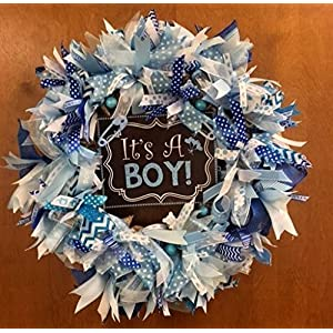 It's A Boy Burlap Wreath Door Decoration. Super Cute & Whimsical. Baby Boy, Gender reveal Baby Shower Decoration 39