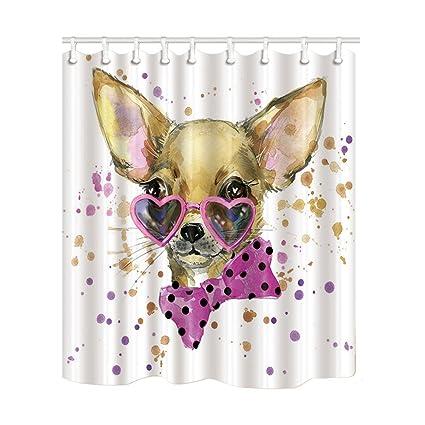 KOTOM Animal cortinas de ducha, acuarela chihuahua desgaste del perro corazón gafas de sol con