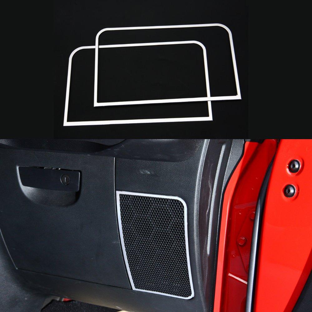 Pair Aluminium Car Interior Below Dashboard Speaker Ring Cover Trim Frame for Jeep Wrangler 2011-2016 (Red) KUJOOY