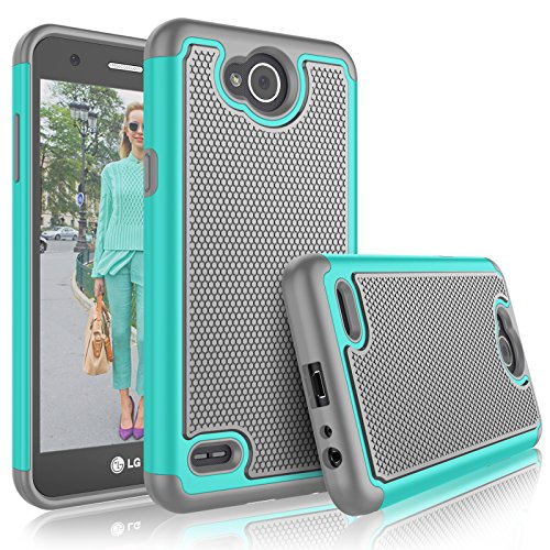 LG X Power 2 Case, LG Fiesta LTE Case For Girls, LG X Charge Cute Cover, Tekcoo [Tmajor] Shock Absorbing [Turquoise] Rubber Plastic Scratch Resistant Defender Bumper Rugged Hard Cases For LG LV7 L64V