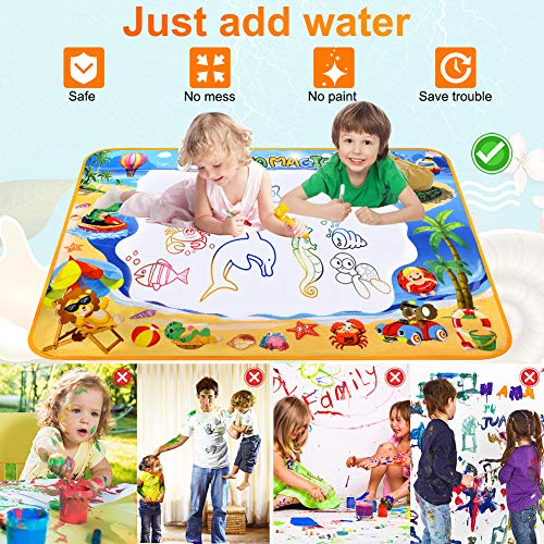 61thhvdpnML - Toyard Doodle Mat, Large Aqua Magic Water Drawing Mat Toy Gifts for Boys Girls Kids Painting Writing Pad Educational Learning Toys for Toddler