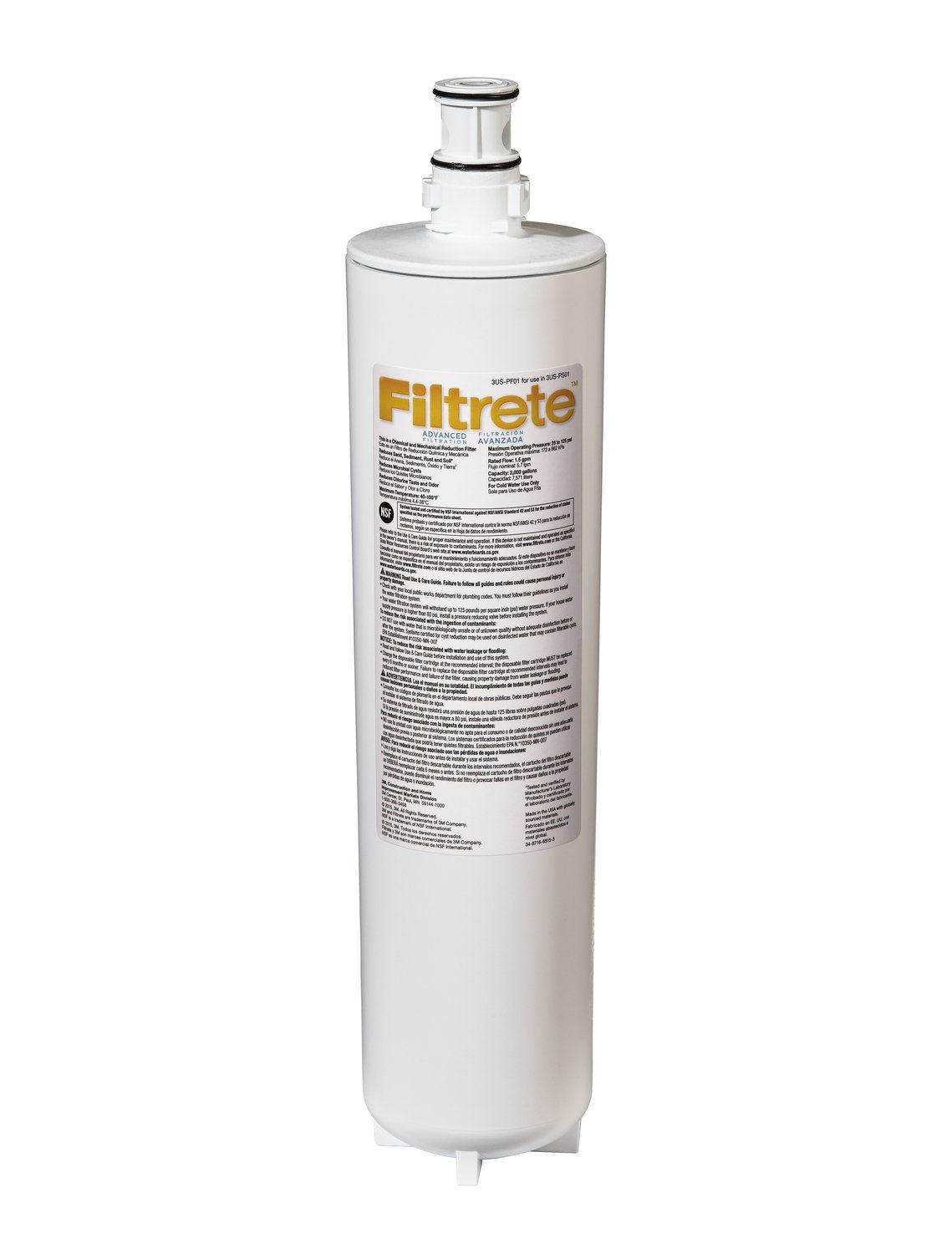 Filtrete Advanced Under Sink Quick Change Water Filtration Filter, 6 Month Filter, Reduces Microbial Cysts, 0.5 Microns Sediment and Chlorine Taste & Odor, (3US-PF01) by Filtrete