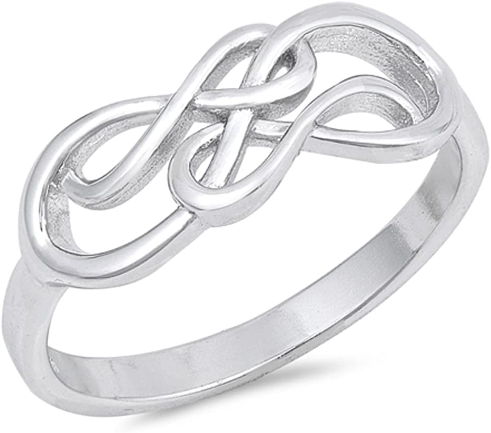 Princess Kylie Round Clear Cubic Zirconia Heart Infinity Sterling Silver
