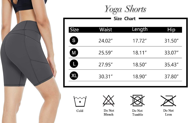 ZJCT Yoga Shorts for Women Workout Biker Shorts High Waisted Tummy Control Running Shorts with Pockets