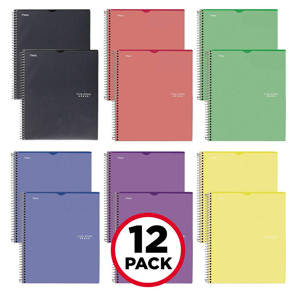 Five Star Interactive Notetaking, 1 Subject, College Ruled Notebooks, 100 Sheets, 11'' x 8-1/2'', Customizable, 12 Pack (38595)